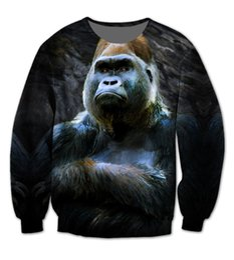 Wholesale Men Making Love - Wholesale- 2 Colors Real USA Size RIP Harambe x Animal Love. 3D Sublimation print Crewneck Sweatshirts custom made plus size