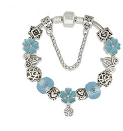 Wholesale Beads Spacer Bars - 925 Sterling Silver White Murano Glass European Charm Beads Flower Dangle Spacer Beads Charm Bracelets Pandora Style Bracelet DIY Jewelry