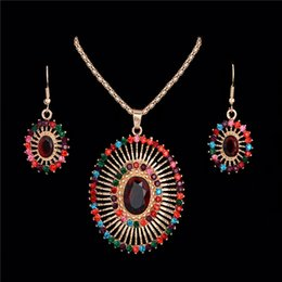 Wholesale Oval Colored Earrings - Bohemian Fashion Multi-colored Rhinestone Oval Shape African Beads Wedding Jewelry Set For Women Earring Pendant Necklace