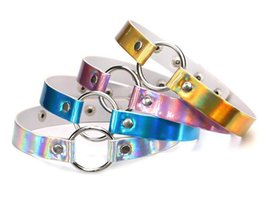 Wholesale Metal Slave Collars - Rainbow Laser PU Leather Necklace Metal Ring Choker Necklace Collar Sub Slave Necklace for Women Statement Jewelry