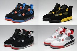 Wholesale Famous Fabrics - Famous Brand Air retro 4 bred alternat toto bravo high quality basketball shoes men women cheap sale US size 5.5-13 Free Shipping