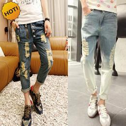 Wholesale Gradient Jeans Men - Wholesale-New 2016 Hip Hop Teenagers Hole Ripped Jeans Men Destressed Zipper Design Gradient Nine Pants Cargo overalls Harem PantsBottoms
