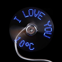 Wholesale Usb Flashing Fan - New Flexible LED Flash USB Fan with Real time Temperature Display Soft Blades USB Gadgets High Quality