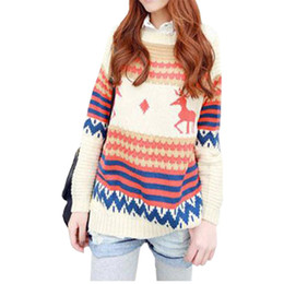 Wholesale Types Women Sweaters - Wholesale- Spring autumn winter Korean sweater women loose jumper big yards thick deer hedging type pullover female poncho vestidos LXJ059