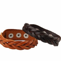 Wholesale twist braid bracelet - Wholesale- 2017 New Fashion Handmade Braided Male Female Leather Bracelet Bangle Cuff Wraped Unique Twist Leather Bracelet Women Men Gift