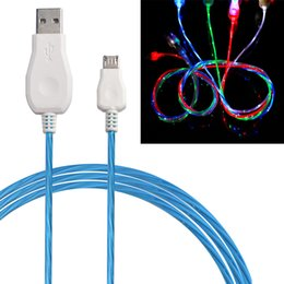 Wholesale Flash Sync Cords - Flowing LED Visible Flashing USB Charger Cable 1M 3FT Data Sync Colorful Light Up Cord Lead for Samsung HTC Blackberry CAB204