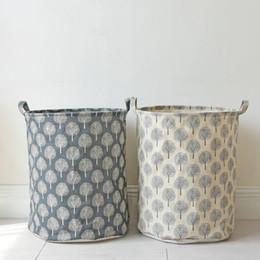 Wholesale Cloth Laundry Baskets - Laundry Basket Dirty Cloths Bags Cotton Linen Basket Trees Pattern Toys Sundries Storage Box Handle Foldable Storage Barrel 1pcs lot