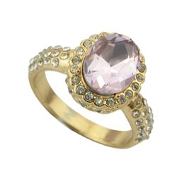 Wholesale Three Color Gold Ring - Pink Rhinestone Romantic Gold Color Alloy Wedding Rings New Fashion Designer Jewelry For Women