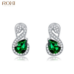 Wholesale Womens Ear Piercings - ROXI Womens Wedding Jewelry Rose Gold Color Zircon Crystal Ear Cuff Jewelry Clip Earring for Women Girls Bridal Non Pierced