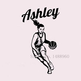 Wholesale Wall Decals Custom Name - Basketball Player custom Personalized Girl Name Wall Stickers for kids rooms DIY poster Decal Vinyl Wall mural Home decor 36*76 cm