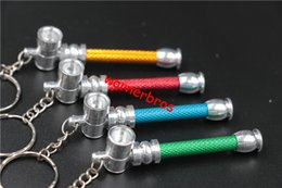 Wholesale Key Chain Tobacco Pipes - 30pcs key chain Jamaica Rasta leaf MINI Metal tobacco Pipe portable Smoking Pipes Aluminum herb pipes Cigarette Holder Keychain cheap price