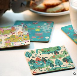 Wholesale Heat Proof Paint Wholesale - Wholesale- Free shipping Creative wood Coasters Cup Cushion Holder Non-slip heat proof coffee Coasters Cup Mat DIY hand painted,4pcs lot