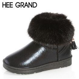 Wholesale Bling Platform Heels - Wholesale- HEE GRAND Tassel Warm Fur Snow Boots Bling Artificial Leather Shoes Woman Cotton Platform Flat Heel Winter Boots XWX4485