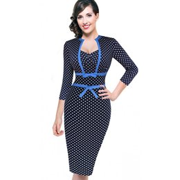 Wholesale Bodycon Pinup Dress - New Desi Women Vintage Rockabilly Retro Polka Dot Bowknot Pinup Tunic Slim Business Casual Party Bodycon Fitted Sheath Dress