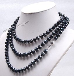 Wholesale Pearl Real Akoya - Free Shipping **Long 50 Inches 8-9mm Real Black Akoya Cultured Pearl Fashion Jewelry Necklace