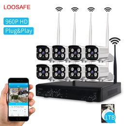 Wholesale Ip Camera Wireless Surveillance System - LOOSAFE 8CH 960P Security Camera System With 1T HDD Waterproof Wireless Wifi Indoor and Outdoor Surveillance NVR CCTV IP Cameras Kits