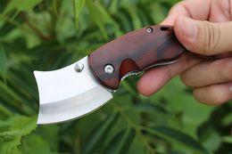 Wholesale Wood Wolf - Free Wolf Small killer Mini Keychain Folding Knife 5CR15 Sandblasting Razor Blade Natural Rosewood Hand Pocket EDC Knives Christmas Gift