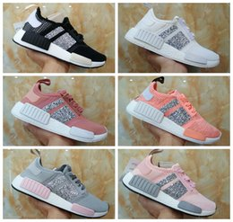 Wholesale Crystal Lace Shoes - New 2017 NMD Runner R1 Primeknit Crystal Customize Black White Grey Pink Women Men Best Running Shoes Originals nmds Sport Shoes