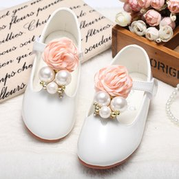 Wholesale Casual Dresses For Winter - Baby Girls Leather Shoes 2017 Spring Kids Girls PShoes Casual Beautiful Flower Pearl Kids Shoes For Girl Princess Flat Dress Shoes S669