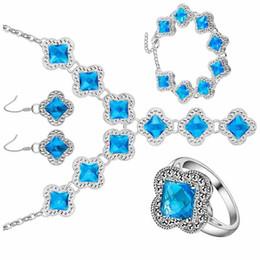 anillos de moda color aguamarina Rebajas 925 temperamento Aquamarine joyería moda al por mayor Crystal zircon pulsera colgante, collar, pendiente, anillo, joyería, conjunto