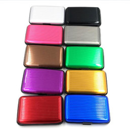 Wholesale Credit Card Case Aluminum - 10 Colors 6 Card Slots Hot Sale Surface Waterproof Fashion Aluminum Card Holder Package Business ID Credit Card Wallet Case Pocket Purse