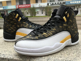 Wholesale Canvas Shoes Wings - New October's Very OVO Drake White Black Wings 12 Basketball Shoes Men 12 Retro Sneakers Men's 12s Shoes size 8-13