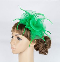 Wholesale Colorful Headpiece - Free Shipping Wonderful color crinoline fascinator headwear feather colorful mesh party show headpiece bridal millinery cocktail hatS MYQ053