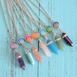 Wholesale Lucite Prisms - Fashion Natural Stone Hexagonal Prism Drusy Druzy Necklaces Mermaid Scale Pendant Necklace For Women Lady Jewelry
