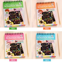 Wholesale Kids Stationery Gift Sets - Stationery Set Scratch Notebook 10*14CM Stylus Scratch Paper Educational Toys Note Paper For Kids Toys Gift Brand New Scraping Painting