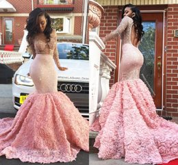 Wholesale Hand Roses - Glittering Pink Backless Mermaid Prom Dresses With Beading Rose Flowers Keyhole Back Sexy Evening Gowns Formal Party Dresses Sweep Train