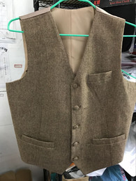 Wholesale Linen Suits For Men Wedding - Real Photos 2017 New Wool Tweed Groom's Wedding Vest Formal Prom Vests For Men Vintage Best man's Suit Waistcoats Plus Size Hot Sale