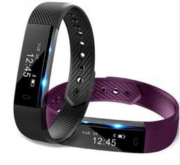 Wholesale Male Vibrating - ID115 Smart Sport Bracelet Fitness Watch Activity Tracker Sleep Monitor Wristband Vibrating Alarm Clock Smartband pk mi band2