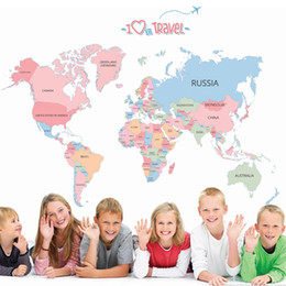 Wholesale Large Maps - Hot sale world map wall stickers colorful letter world map wallpaper kids room world map mural diy home decor art world map poster