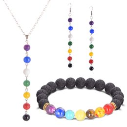 Wholesale Agate Pendant Bead Set - Natural stone colorful beads pendant Necklace Earrings Bracelet Set for women Wedding Necklace Sets Engagement Jewelry Accessories
