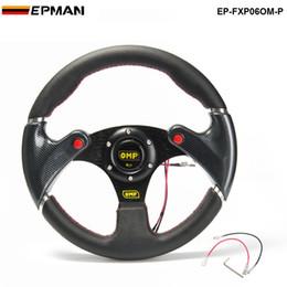 Volante de botão on-line-TANSKY - Nova Corrida 320mm Volante Universal Do Carro DO PVC + Rodas de Carbono Firbre Com Botão de Chifre TK-FXP06OM-P