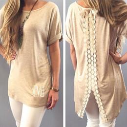 Wholesale Khaki Lace Long Sleeve Top - Ladies T Shirts Blouse Casual T-Shirt Tops Tees Women's Clothing Boho Womens Lace Casual Short Sleeve Long Tops Blouse T-Shirt