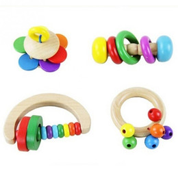 Wholesale Musical Instruments Set Kids - Wholesale- Toddlers Rattles Handle Baby Toy Kid Baby Toys Wooden Bell Rattle Toy Handbell Musical Educational Instrument