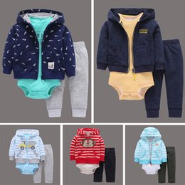 Wholesale Hooded Coat Trousers - Male baby three sets of children's clothing spring and autumn stripe clothing, cotton baby conjoined clothes + coat + trousers set of stock