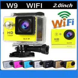 Wholesale Hd Camcorder Cheapest - 1pc cheapest WiFi Camera W9 Mini Waterproof Camcorder 1080P Full HD 2 inch LCD Helmet Cam Underwater 30m Sport DV Camera DHL free