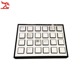 Wholesale Ring Tray White - Professional Jewelry Display Case Portable 24Pcs Magnet Ring Holder Sheet White Black Wooden Ring Organizer Jewelry Display Tray