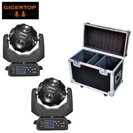 Wholesale Axis Rotation - gigertop Freeshipping 2 Unit Football Led Moving Head Light Y Axis Endless Rotation 12x20W USA Cree RGBW 4IN1 LEDS Solar Storm Flightcase