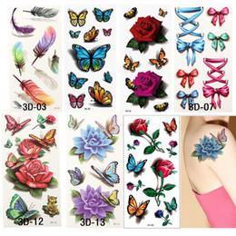 2019 rose tattoos frauen Wholesale- 7PCS = 7Styles 3D der Frauen bunte wasserdichte Körper-Kunst-Tätowierungs-Hülsen-DIY-Aufkleber-vorübergehende Tätowierungs-Rosen-Blumen-Tätowierung rabatt rose tattoos frauen