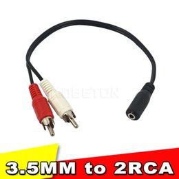 Wholesale Headphone Jack Rca - 2015 Hot Sale Universal 3.5mm Stereo Audio Female Jack to 2 RCA Male Socket to Headphone 3.5 Y Adapter Cable