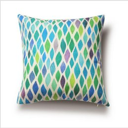 Wholesale Modern Green Pillow - Free shipping Modern Style Home Cushions, Watercolor Geometric Patterns, Green Cushion Covers,Decorative Throw Pillows,Pillow Cover