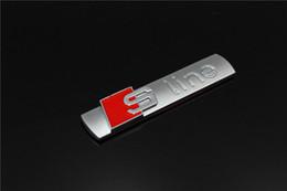 Wholesale Audi Q5 Emblem - 3D Metal Sline S line Fender Emblem Decal Sticker Badge Car Styling For Audi A1 A3 A4 A5 A6 A7 A8 Q3 Q5 Q7 S3 S4 S5 S6 S7 S8 TT
