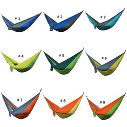 Wholesale blue parachute - Sleeping Hammock Portable Nylon Parachute Double Person Hammock Outdoor Camping Safe Outdoor Parachute 275 X 140cm Travel Hammock 36 Color