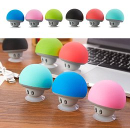 Wholesale Sucker Silicone - BT280 lovely mini mushroom Car speaker subwoofer Bluetooth wireless speaker silicone sucker phone tablet computer stand Free Shipping