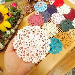 Wholesale Cotton Crochet Table Mat - Wholesale- 5Pcs 10cm Handmade Cotton Hollow Round Table Mat Vintage Floral Hand Crochet Doily Cup Pads Doilies Crochet Placemat Coasters