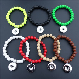 Wholesale Metal Rosaries - Women Fashion Wooden Beads Rosary Noosa Chunks Metal Ginger 18mm Snap Buttons Bracelet Men Jewelry Wholesale