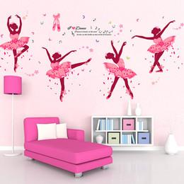 2019 flores 3d de plastico para pared 2 estilos DIY Pink Girls Dancing Ballet Etiqueta de la pared negro danza etiqueta de la pared del ballet calcomanías para la Decoración Casera niños sala
